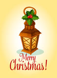 Christmas lantern and red holly berry card design. Christmas and New Year greeting card with wooden lantern, adorned by holly leaf with red berry. Winter holiday Royalty Free Stock Images