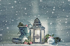 Christmas lantern with a shoe and Christmas decorations Royalty Free Stock Photography