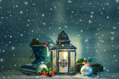 Christmas lantern with a shoe Royalty Free Stock Images