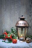 Christmas lantern in the snow Stock Photo