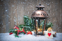Christmas lantern in the snow Stock Photos
