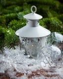 Christmas lantern on snow Stock Photography