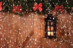 Christmas lantern with snow Royalty Free Stock Photo