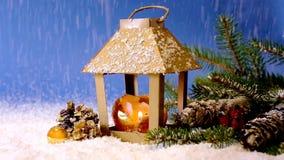 Christmas lantern and snowfall. stock footage