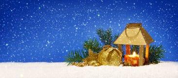 Christmas lantern and snowfall. Royalty Free Stock Photography