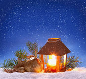 Christmas lantern and snowfall. Royalty Free Stock Photo