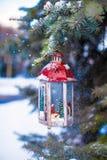 Christmas lantern with snowfall hanging on a fir branch stock photography