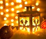 Christmas lantern with snowflakes Royalty Free Stock Photos