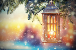Christmas lantern in sunset light Royalty Free Stock Photography