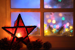 Christmas Lantern and window Royalty Free Stock Image