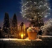 Christmas lantern in winter garden Stock Images