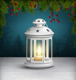 Christmas Lantern on Wooden Floor with Pine Branches on Dark Blu. E Background Stock Photos