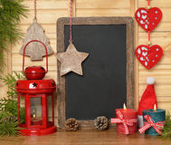 Christmas lantern and writing board Royalty Free Stock Image