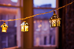 Christmas lanterns blurred Stock Images