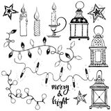 Christmas lanterns, festive garland lights and Christmas candles. Festive Christmas lighting. Vector isolated elements of the hand-drawn Stock Photos
