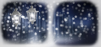 Christmas lanterns. Forest background, snow Stock Photos