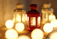 Christmas lanterns and garland Stock Images