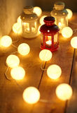 Christmas lanterns and garland Royalty Free Stock Photo