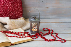 Christmas Lanterns, tangerine and red beads on white wooden back Royalty Free Stock Photography