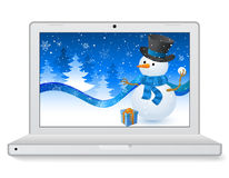 Christmas Laptop Stock Photo