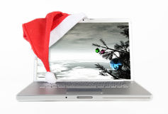 Christmas Laptop Royalty Free Stock Images