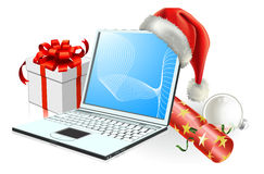 Christmas laptop computer Royalty Free Stock Image