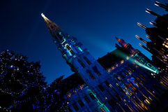 Christmas laser show at Grand Place. (Brussels, Belgium Stock Photo