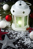 Christmas latern with decoration Stock Photos