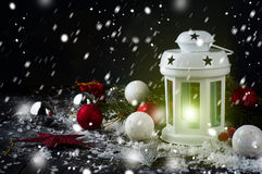 Christmas latern with decoration Stock Images