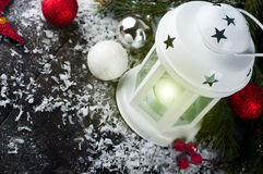 Christmas latern with decoration Royalty Free Stock Photos