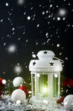 Christmas latern with decoration Royalty Free Stock Images