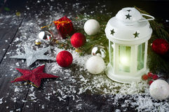 Christmas latern with decoration Royalty Free Stock Image