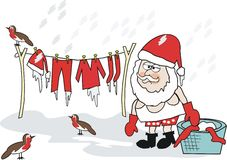 Christmas laundry cartoon Royalty Free Stock Photography