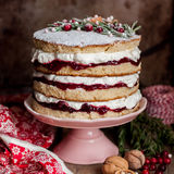 Christmas Layered Cake with Raspberry Jam and Whipped Cream Royalty Free Stock Images