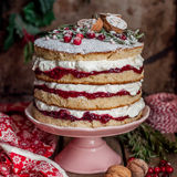 Christmas Layered Cake with Raspberry Jam and Whipped Cream. Victoria Sponge, square Stock Photography