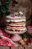 Christmas Layered Cake with Raspberry Jam and Whipped Cream Royalty Free Stock Photos