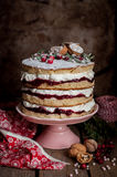 Christmas Layered Cake with Raspberry Jam and Whipped Cream Royalty Free Stock Image
