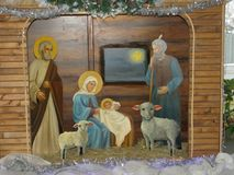 Christmas Layout. In the hall dedicated to the Gospel stories about Christmas Royalty Free Stock Photo