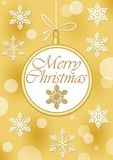Christmas leaflet or greeting card template in gold design with christmas ball shape. Stock Images