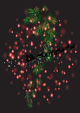 Christmas leafs with Christmas background and greeting card vector Stock Images