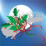 Christmas leafs and reindeer with Christmas background and greeting card vector Royalty Free Stock Photo