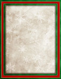 Christmas leather background. Red & green border on snowflake Christmas leather textured background Stock Photos