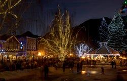 Christmas in Leavenworth, WA. Christmas Lighting in Leavenworth, WA royalty free stock photos