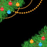 Christmas leaves and decoration baubles banner vector illustration