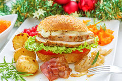 Christmas leftovers  - Turkey meat Sandwich Royalty Free Stock Image