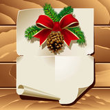 Christmas Letter. Xmas ribbon and blank paper leaf on wooden background. Vector illustration Stock Photo