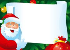 Christmas letter. Vector Card with  Santa Claus and paper for your text Royalty Free Stock Photos