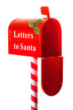 Christmas letter box to Santa. Isolated on white Royalty Free Stock Images