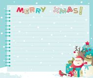 Christmas letter with copy space. Vector backgrounds of baubles with Santa, snowman, Rudolph The Red-nosed Reindee and christmas decorations Stock Photo