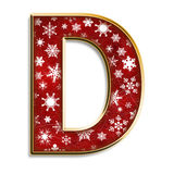 Christmas letter D in red. 3d capital D in red with white snowflakes & gold border isolated on white Royalty Free Stock Photos